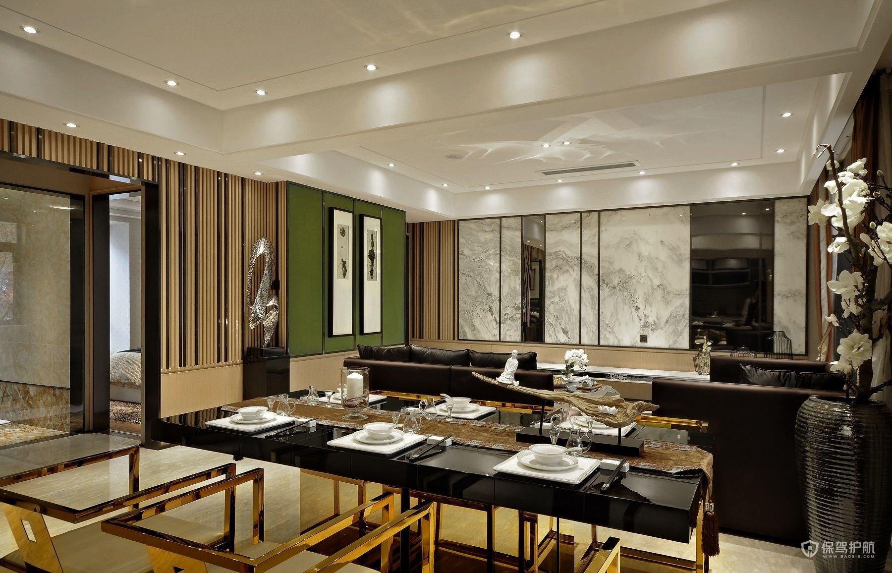 精致新中式风格三居室餐厅亚搏体育平台app效果图