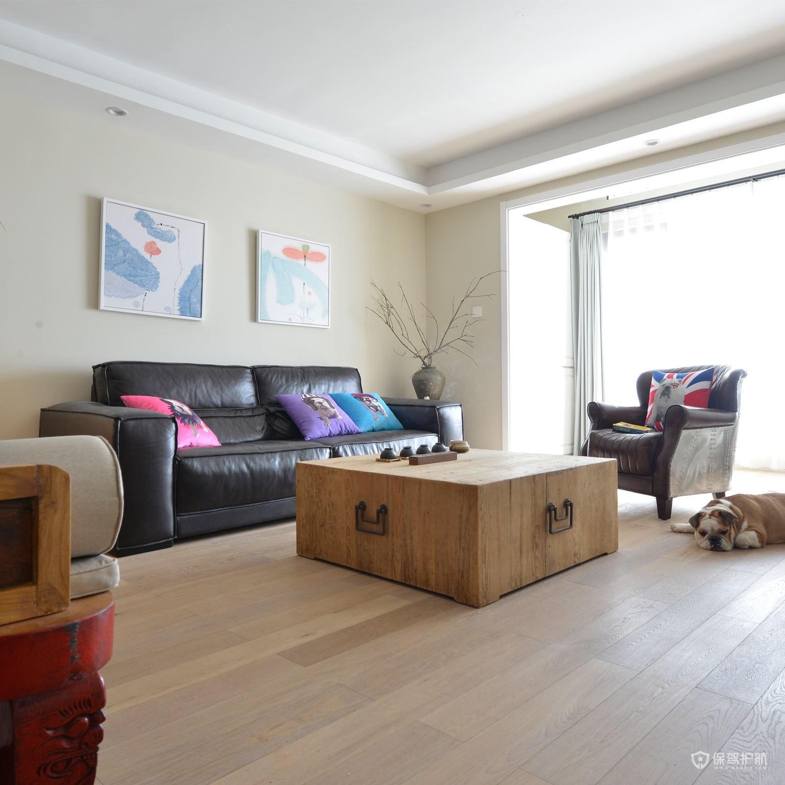 簡約風格三居室客廳木地板裝修效果圖…