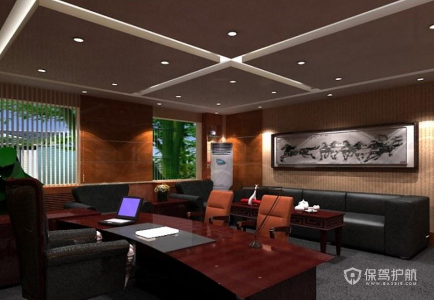 中式古典風老板辦公室裝修效果圖