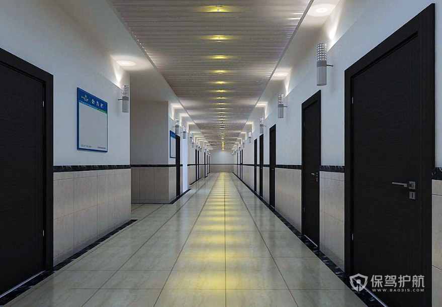 現代簡約公司走廊裝修效果圖