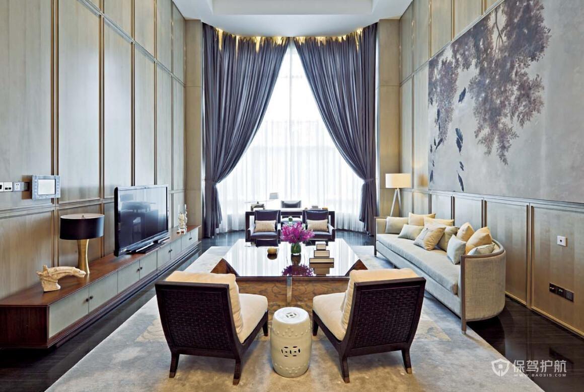 現代高雅復式挑高客廳裝修效果圖