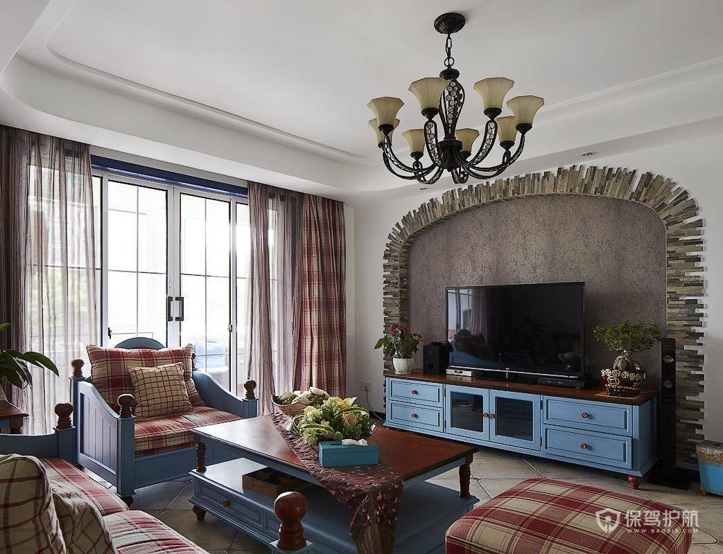 美式田園風二居室客廳裝修效果圖
