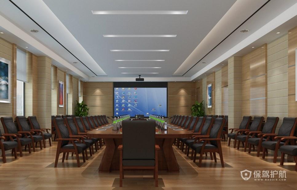 新中式輕奢混搭會議室裝修效果圖