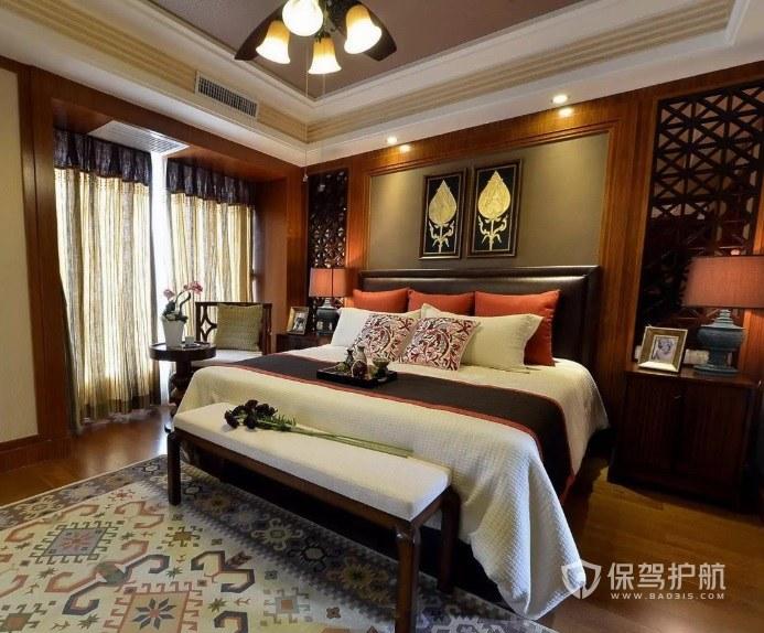 东南亚古典风主卧背景墙装修效果图