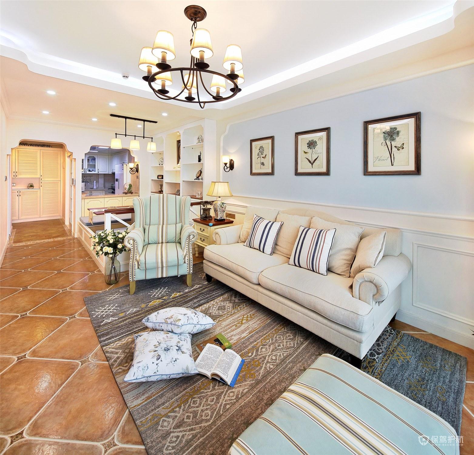 130平美式三房客厅装修效果图