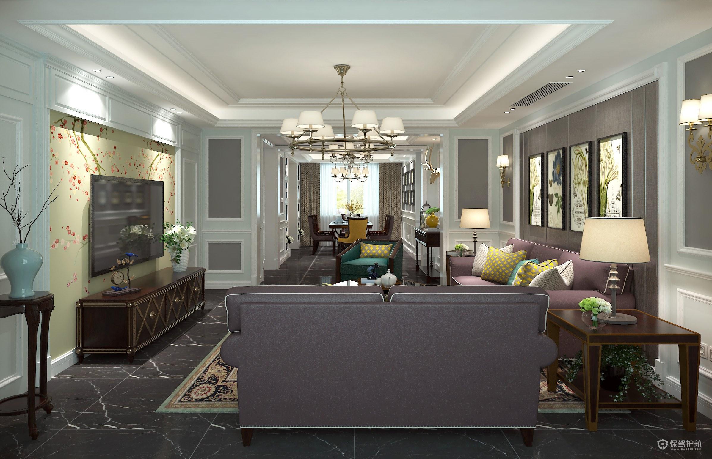 美式別墅客廳裝修效果圖