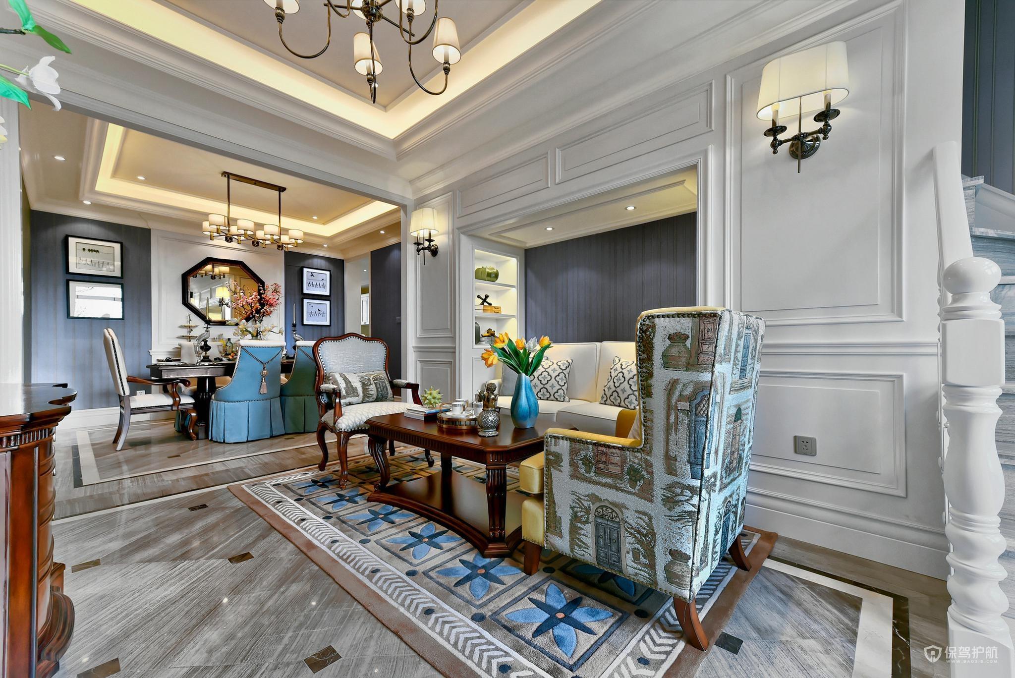 豪华美式风跃层客厅装修效果图