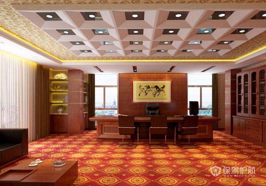 復古古典風副總辦公室裝修效果圖