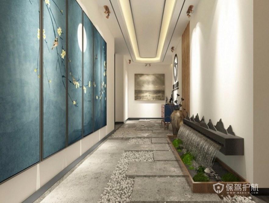 中式禪意辦公門廳走廊裝修效果圖