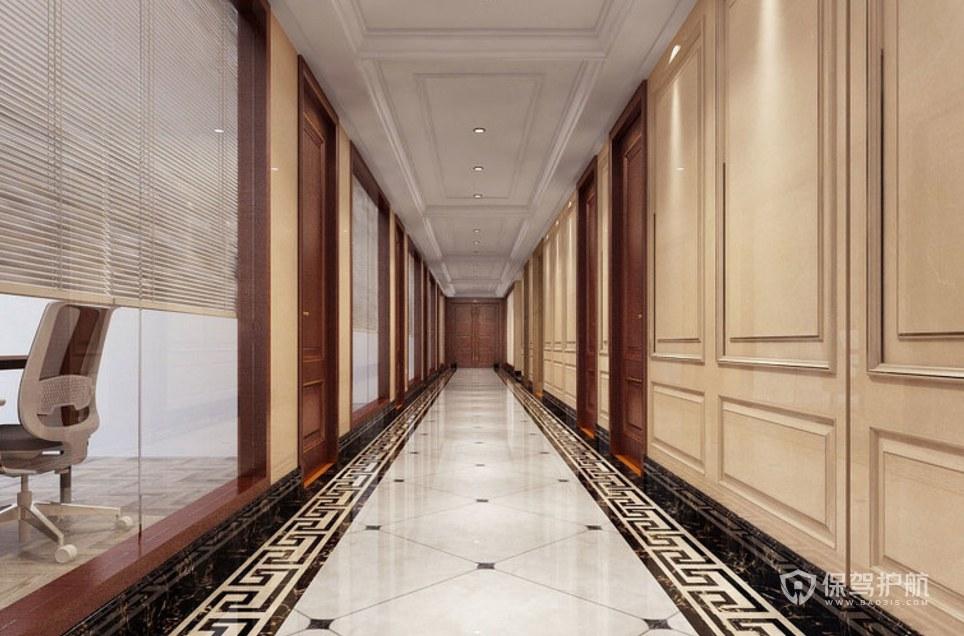簡歐中式混搭公司走廊裝修效果圖
