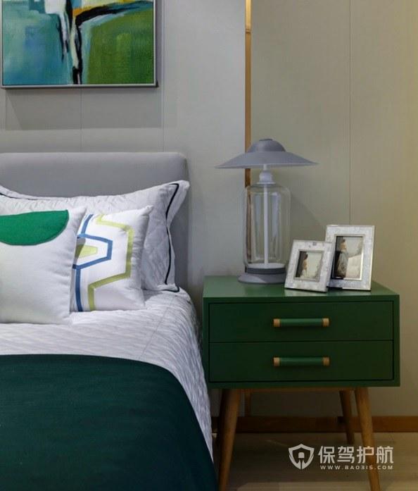 卧室创意青色实木床头柜亚搏体育平台app效果图