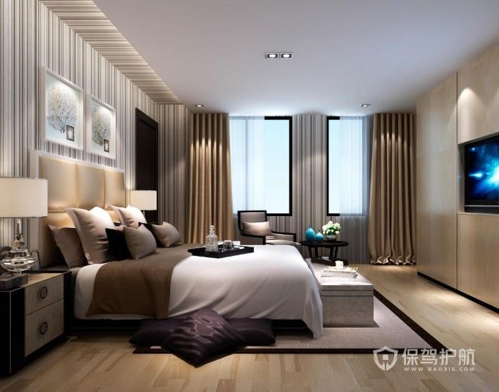 卧室简约风实木床头柜亚搏体育平台app效果图