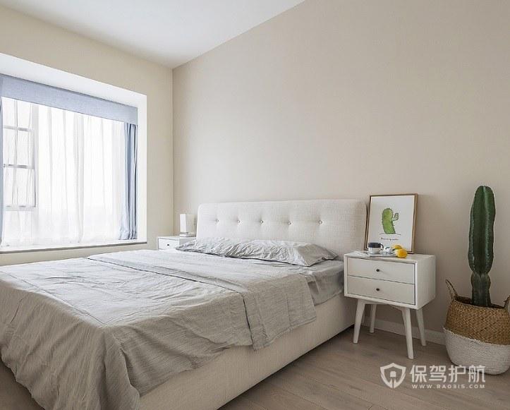 卧室白色实木四角床头柜亚搏体育平台app效果图