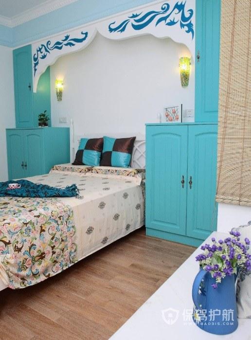 卧室地中海蓝色实木床头柜亚搏体育平台app效果图