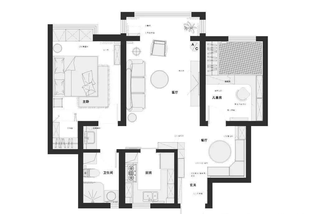【70平兩室一廳裝修圖】70平現代簡約風兩室一廳裝修實景圖