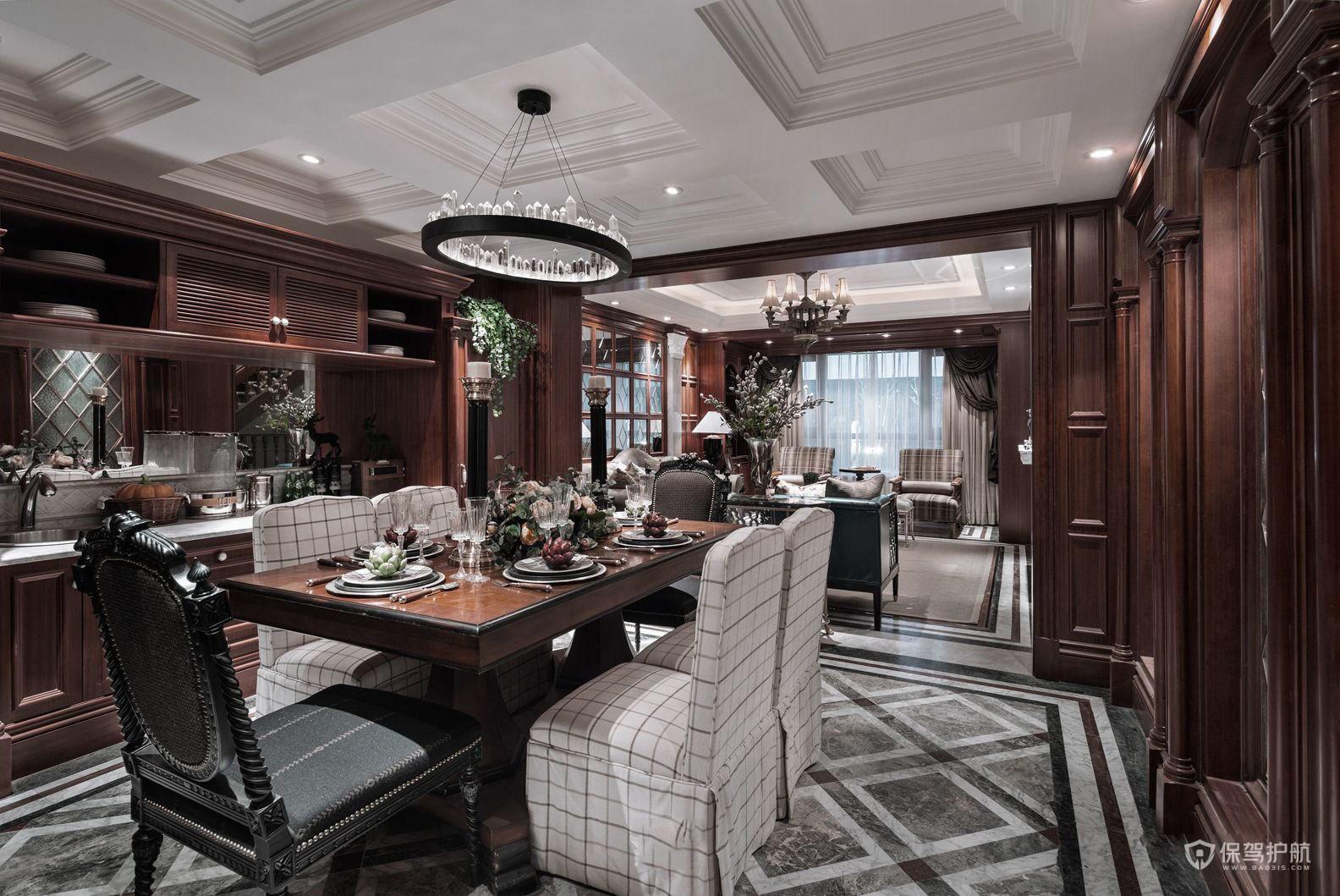 160平古典美式三居室餐廳裝修效果圖…