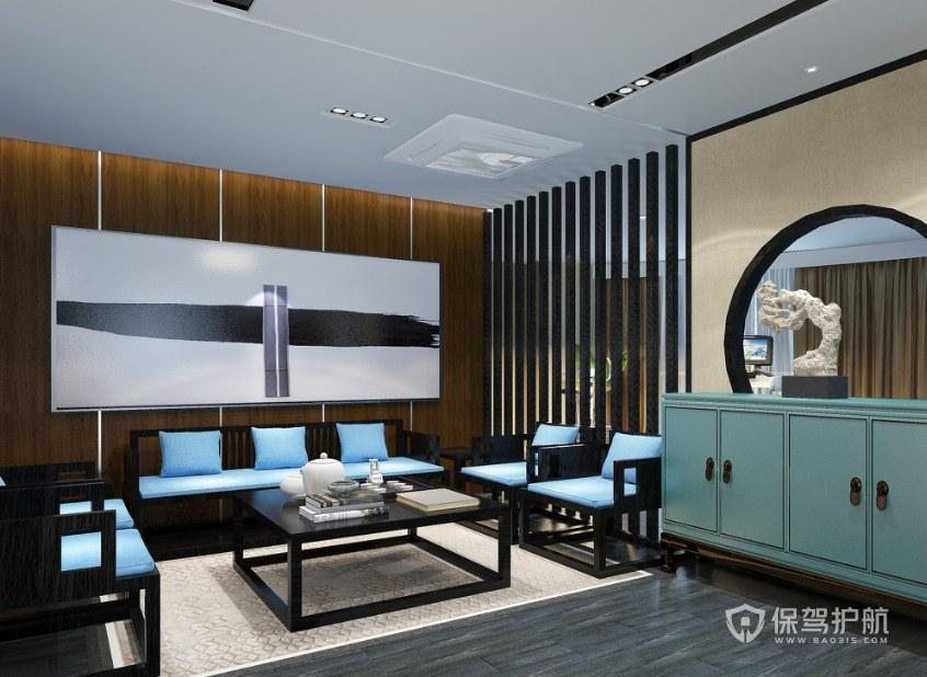 极简新中式办公待客室装修效果图