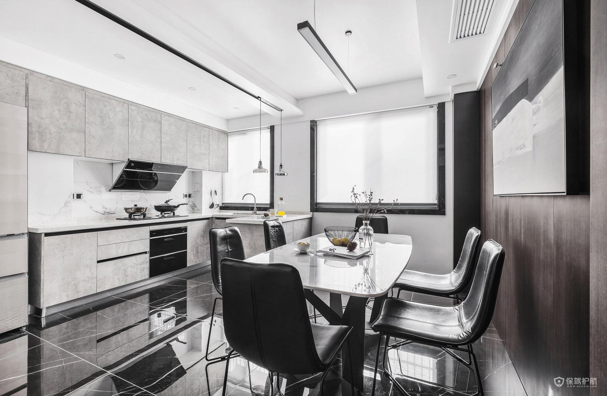 現代黑白簡約風廚房餐廳裝修效果圖