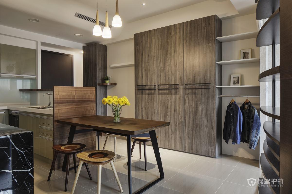 簡約原木風loft公寓餐廚區裝修效果圖…