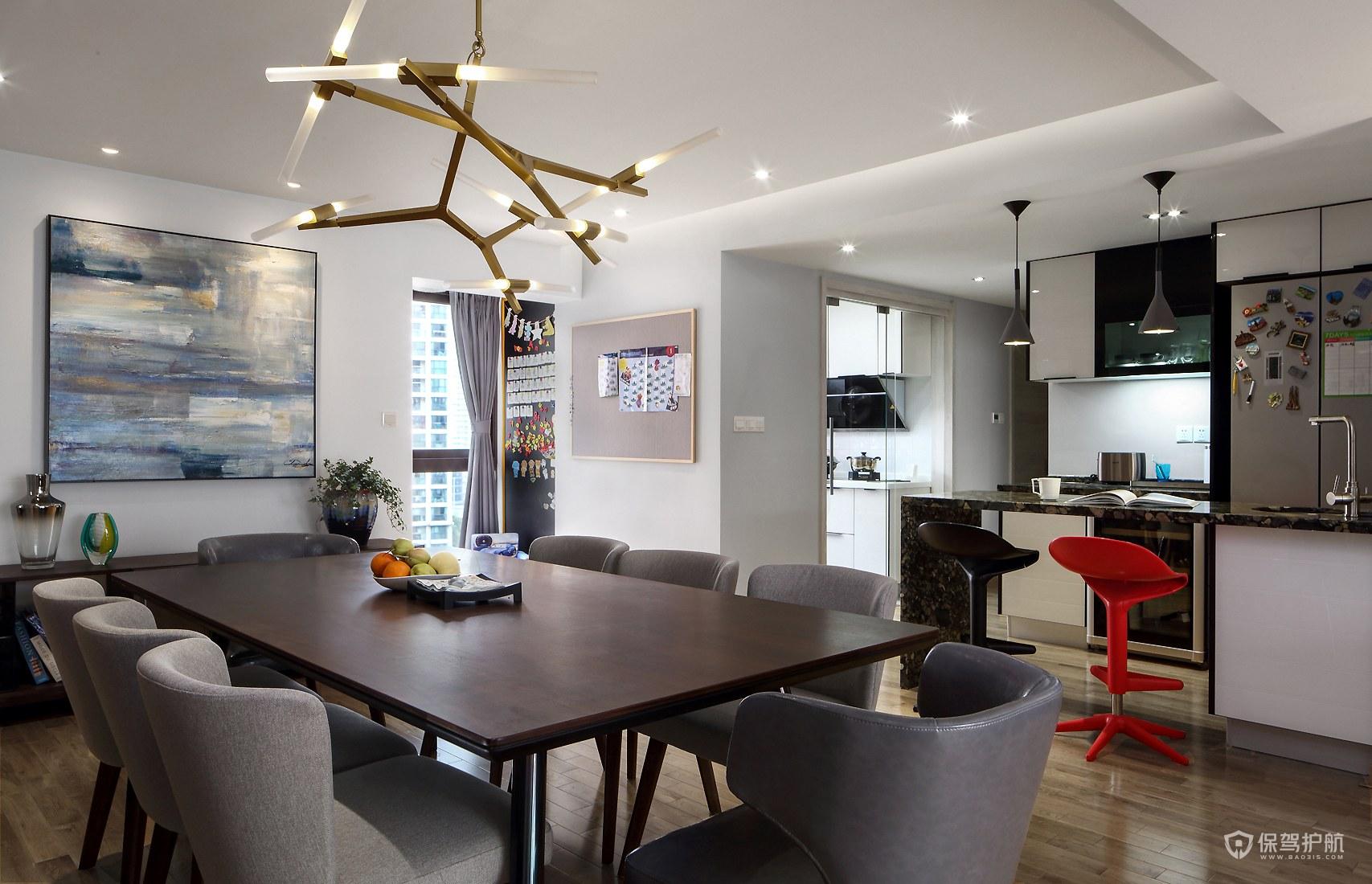 150平現代四居室餐廳裝修效果圖