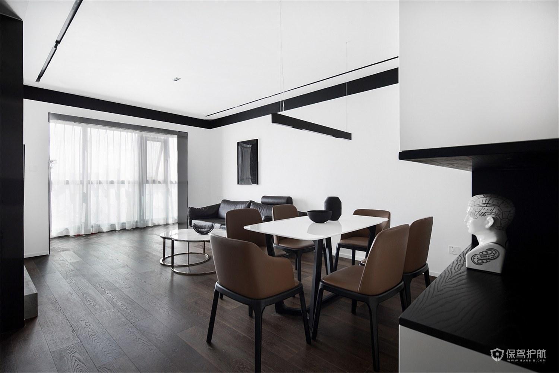 復式黑白簡約風客廳裝修效果圖