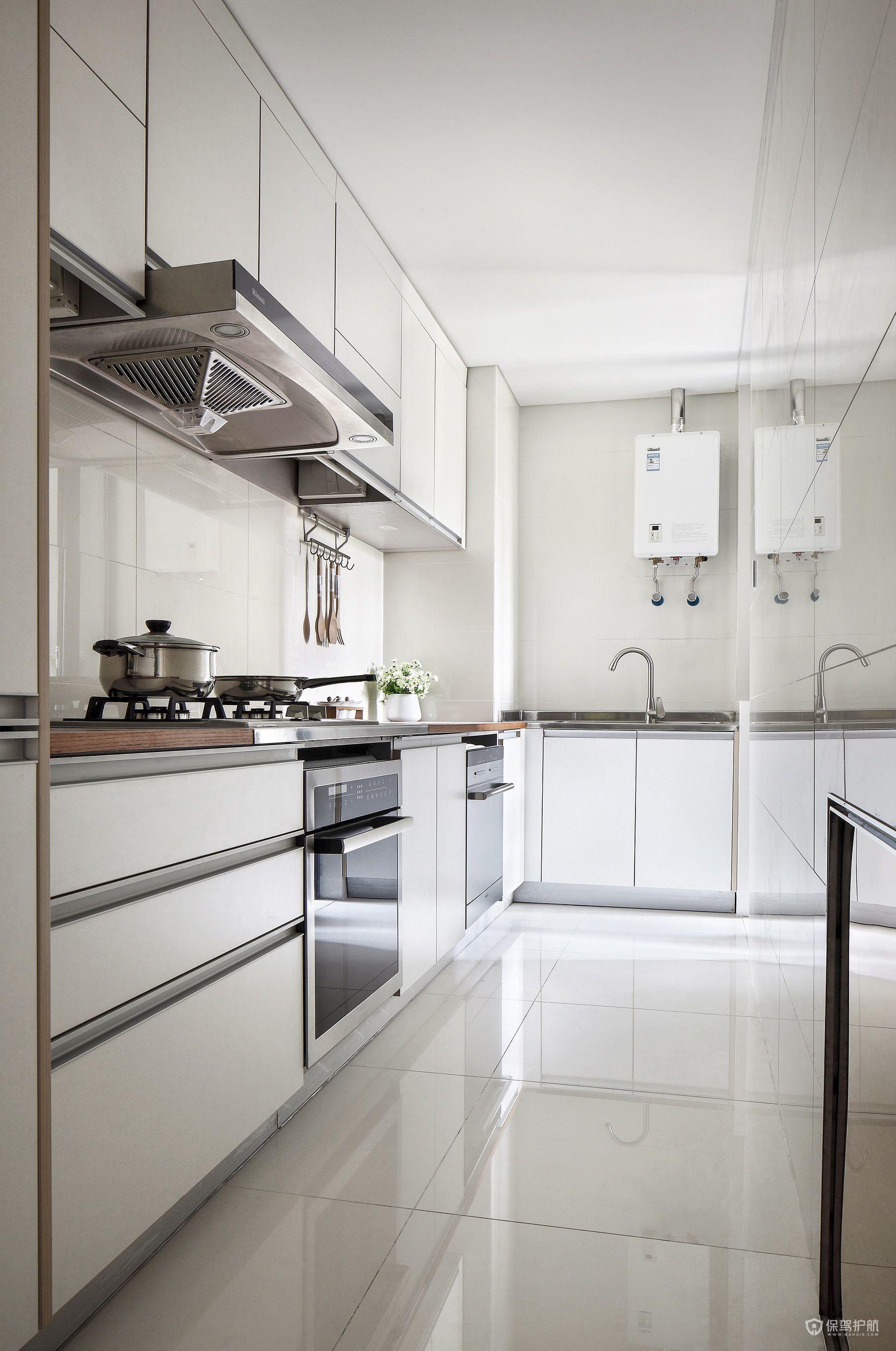 現代簡約風二居室白色廚房裝修效果圖…