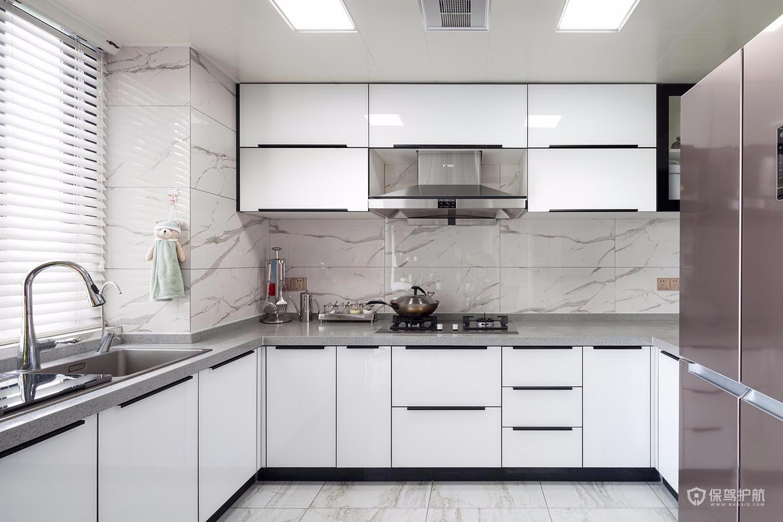 简约风三居室厨房白色橱柜亚搏体育平台app效果图…