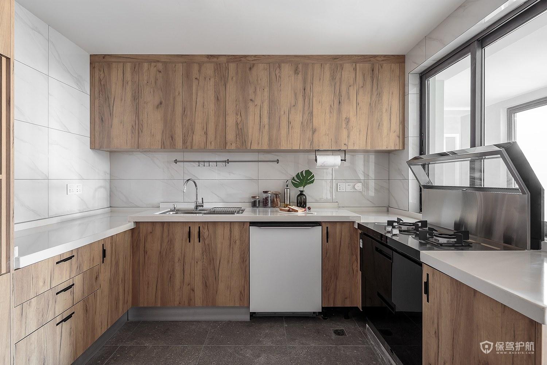 北欧风原木厨房橱柜亚搏体育平台app效果图