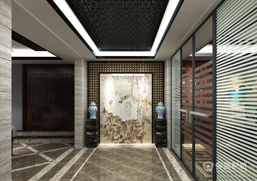新中式古典风办公门厅装修效果图