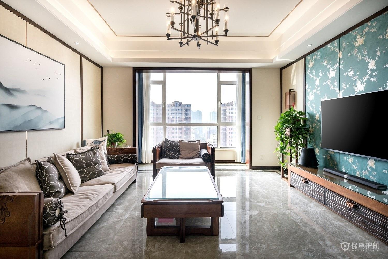 80平二居室客厅客厅电视墙装修效果图…
