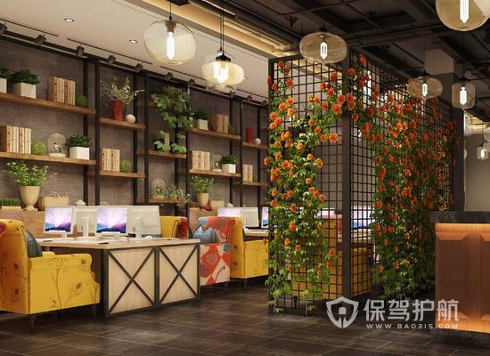 100平米新中式风格网咖装修效果图