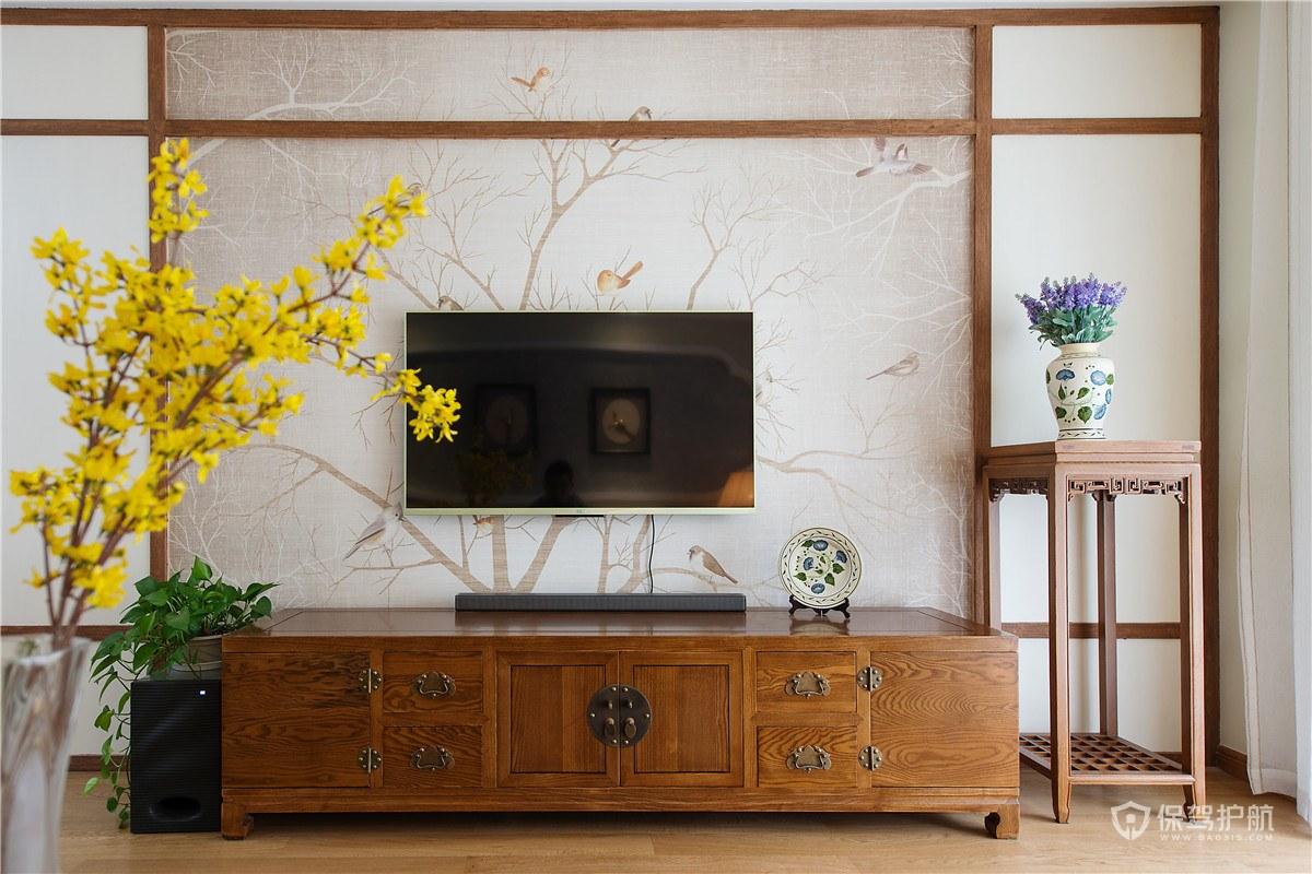 新中式客厅电视墙背景墙装修效果图