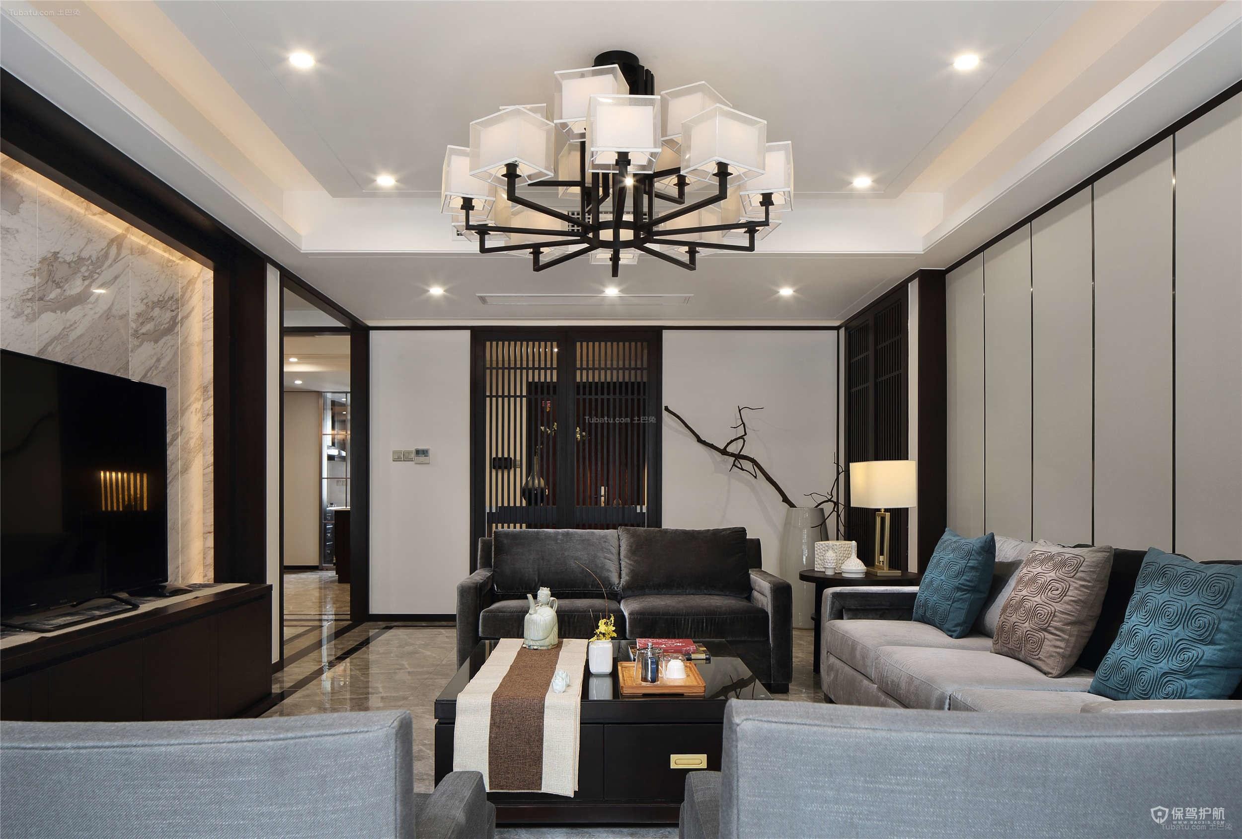 新中式复式客厅吊顶灯具装修效果图