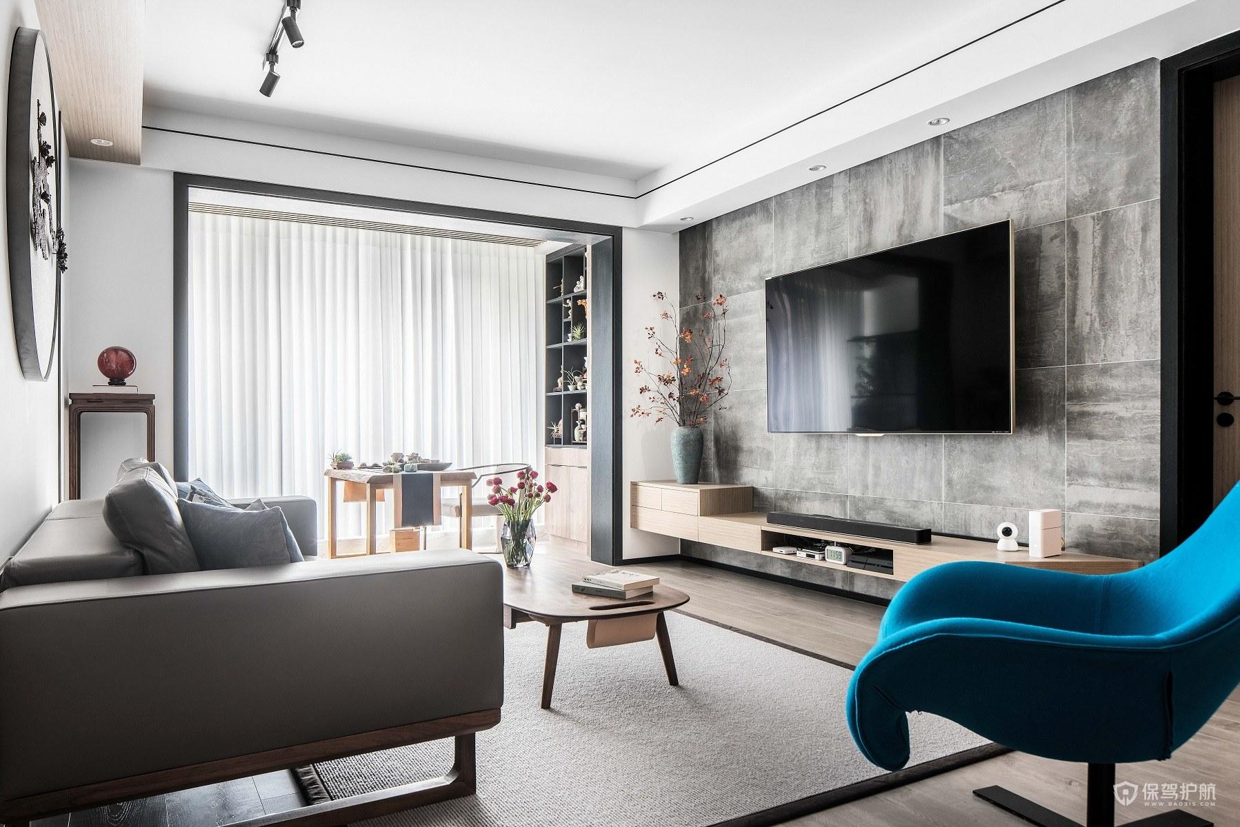 130平新中式三居室客厅电视背景墙装…
