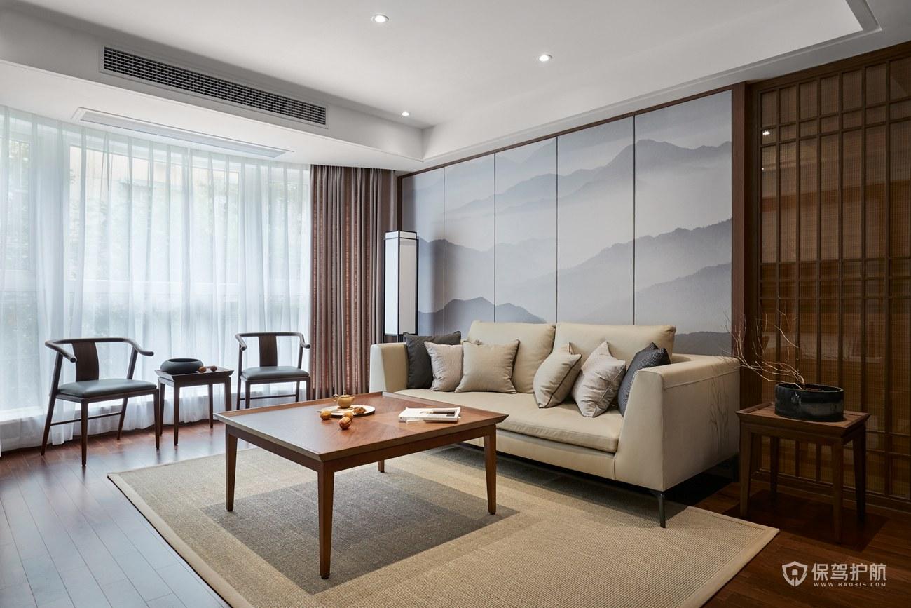 新中式复式客厅沙发背景墙装修效果图…