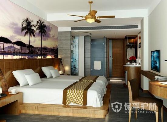 15平米中式风格酒店装修实景图