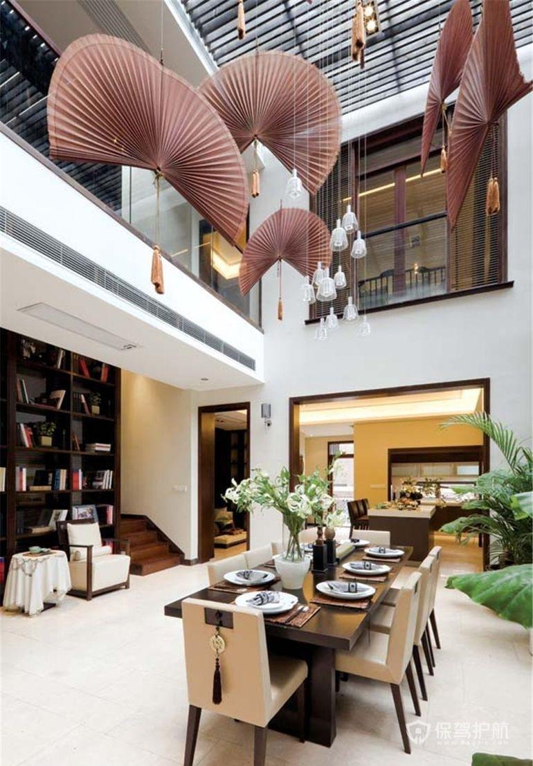 中式别墅挑空餐厅装修效果图