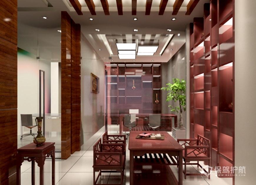 新中式創意泡茶接待室裝修效果圖