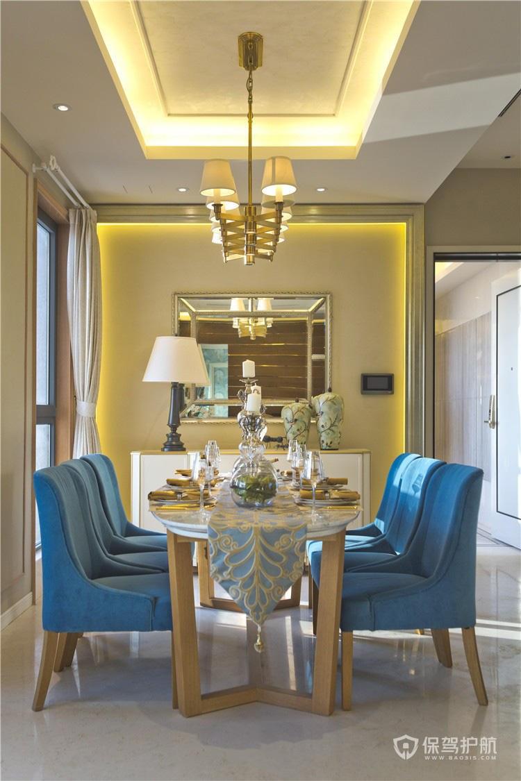 现代美式风格三居室餐厅吊顶装修效果…