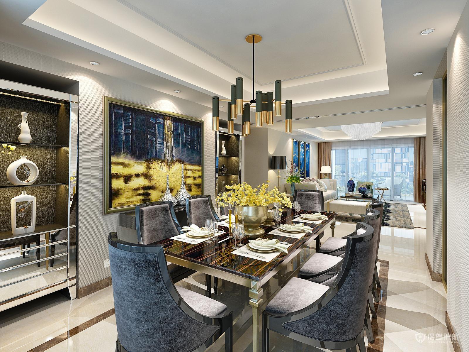 新古典风格三居室餐厅吊顶装修效果图…