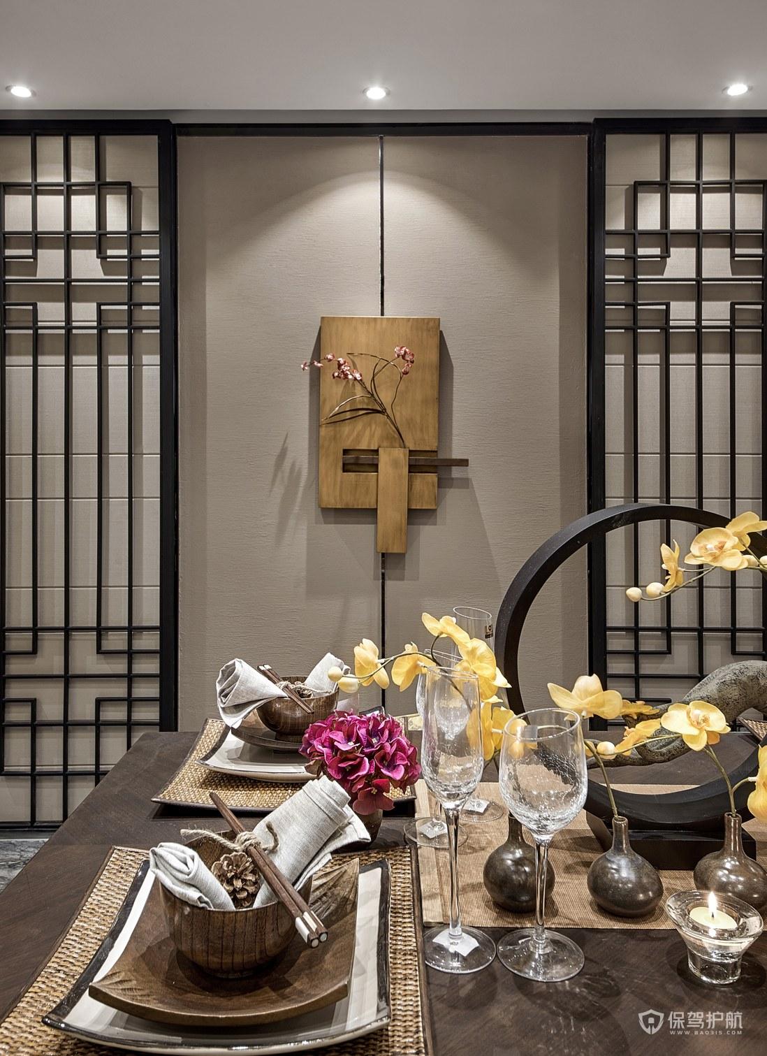 中式风格三居室餐厅背景墙亚搏体育平台app效果图…