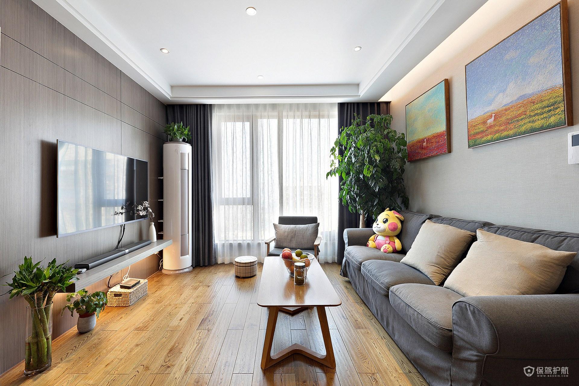 现代风格三居室客厅电视墙亚搏体育平台app效果图