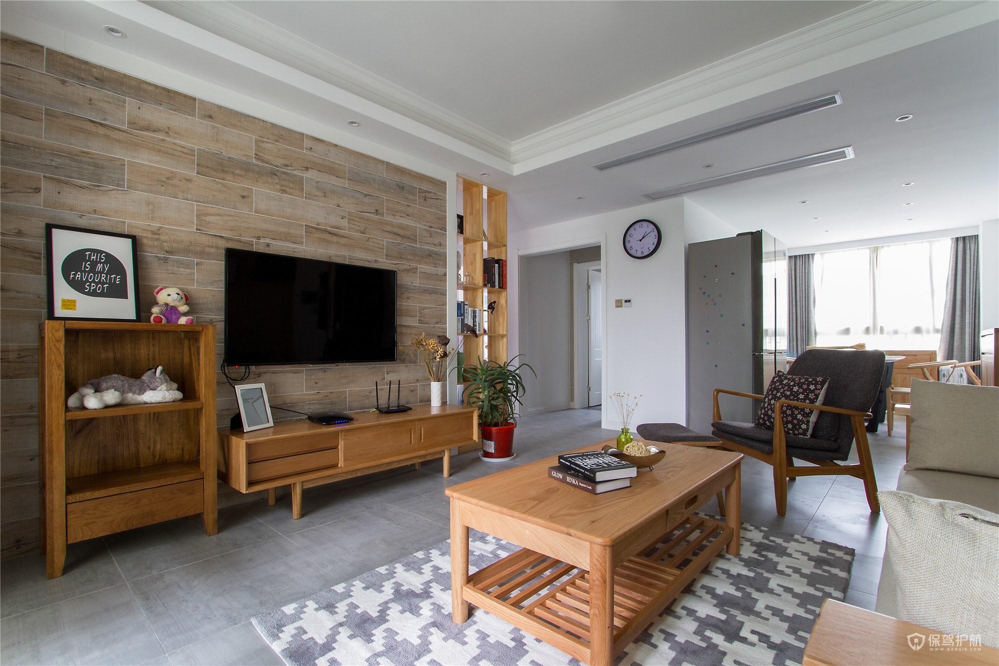 日式二居室客厅木质电视墙装修效果图