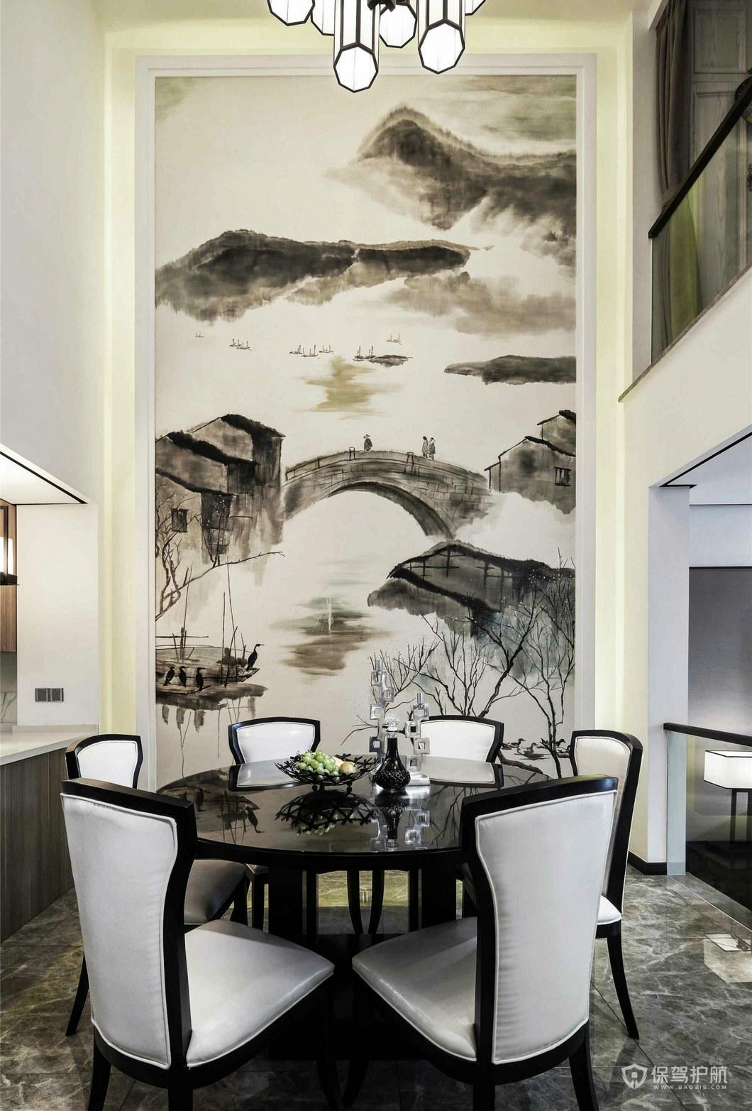 中式复式餐厅背景墙亚搏体育平台app效果图