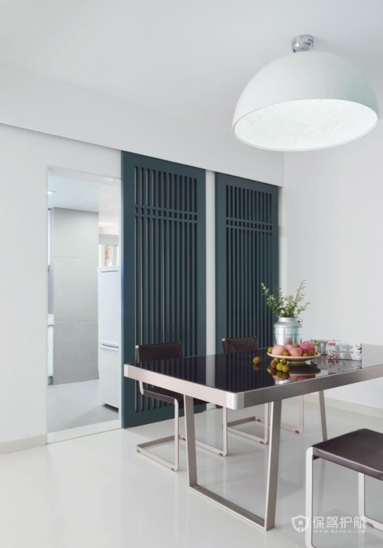 現代極簡風三居室餐廳推拉門裝修效果…