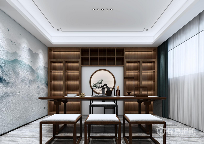 优雅新中式待客室装修效果图