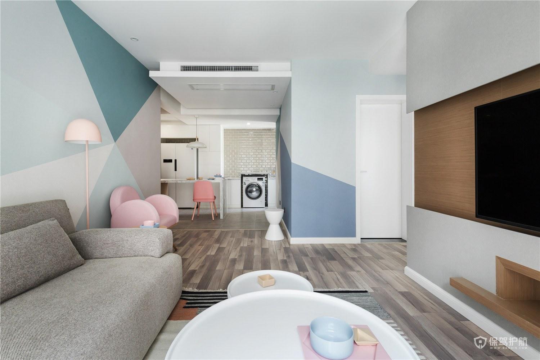 马卡龙色系北欧风二居室客厅装修效果…
