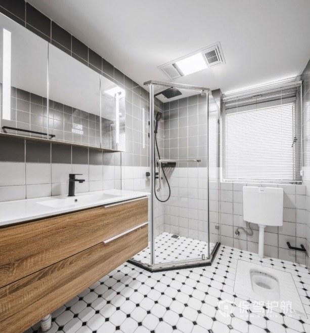 现代日式卫生间瓷砖装修效果图