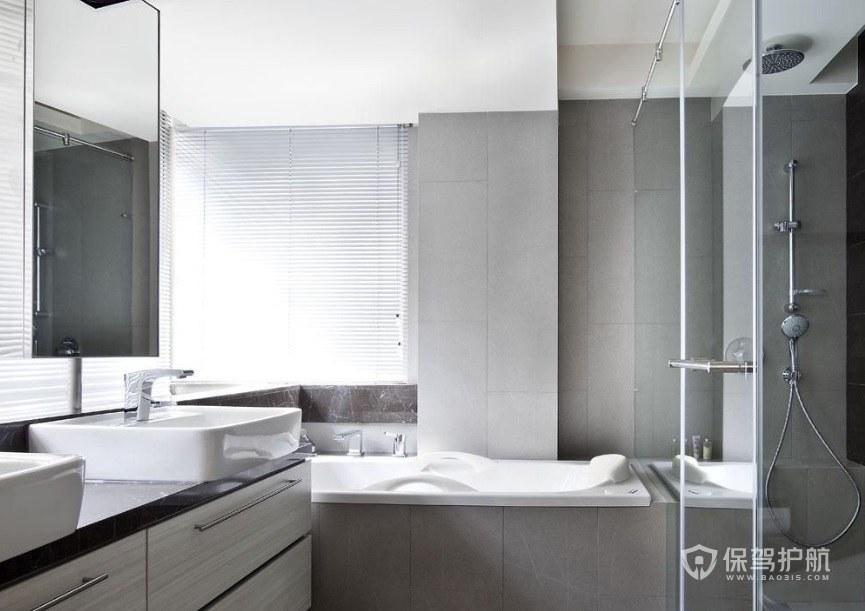 日式极简风卫生间浴缸装修效果图