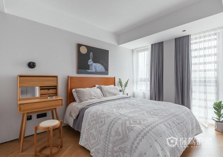 公寓北欧风卧室灰+白窗帘装修效果图